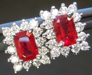Ruby Earrings: 1.20cts Emerald Cut Ruby and Diamond Halo Earrings R5010