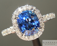 Sapphire Ring: 1.66ct Blue Cushion Cut Sapphire Diamond Halo Ring R5022