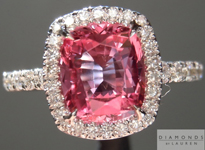 Sapphire Ring: 1.84ct Deep Pink Cushion Cut Sapphire Diamond Halo Ring R5025