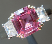 Sapphire Ring: 1.79ct Purple Pink Asscher Cut Sapphire and Diamond Ring R5029