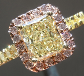 Yellow Diamond Ring: 1.01ct Fancy Light Yellow SI2 Radiant Cut GIA Pink Diamond Halo R5020