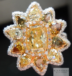 Fancy Colored Diamond Ring: 1.30ct Fancy Yellow VS2 Cushion Cut GIA and Assorted Fancy Colored Diamond Ring R5030