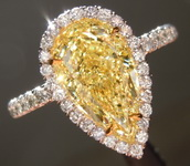 SOLD... Yellow Diamond Ring: 2.01ct Fancy Yellow SI1 Pear Shape GIA Halo Ring R5045