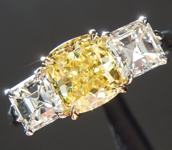 Loose Yellow Diamond: 1.18ct Fancy Vivid Yellow VS2 Cushion Cut GIA Beautiful Cut R5047