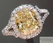 SOLD.....Yellow Diamond Ring: 2.02ct W-X VS1 Cushion Cut GIA Split Shank Halo R5053