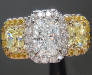 SOLD...Colorless Diamond Ring: .60ct E VS1 Branded Original Radiant Cut Diamond GIA Three Stone Halo R5066