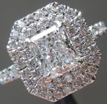 Colorless Diamond Ring: .91ct D VS1 Branded Original Radiant Cut Diamond GIA Double Halo R5070