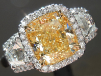 SOLD...Yellow Diamond Ring: 2.54ct Fancy Light Yellow VS1 Cushion Cut GIA Three Stone Halo R5079