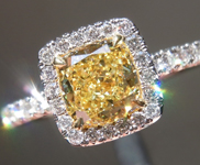 Yellow Diamond Ring: .89ct Fancy Intense Yellow VS2 Cushion Cut GIA Halo Ring R4237