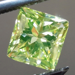 Loose Green Diamond: .78ct Fancy Intense Green-Yellow Radiant Cut GIA Amazing Color R5085
