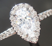 SOLD........Colorless Diamond Ring: .57ct D SI2 Pear Brilliant GIA Halo Ring R5060