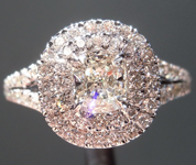 Diamond Ring: .53ct J VVS2 Cushion Modified Brilliant GIA Split Shank Double Halo Ring R5090