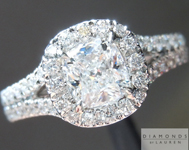 0.62ct D SI1 Cushion Cut Diamond Ring R5091