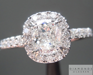 SOLD....Colorless Diamond Ring: .72ct F SI1 Cushion Cut GIA Platinum Halo Ring R5092