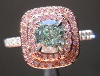 SOLD....Green Diamond Ring: .59ct Fancy Green VVS2 Cushion Cut GIA Pink Halo Ring R5106