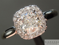 SOLD....Colorless Diamond Ring: .90ct F SI1 Cushion Cut GIA Halo Ring R5096