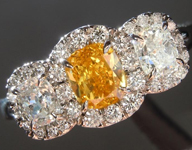 Orange Diamond Ring: .50ct Fancy Vivid Yellow Orange Cushion Modified Brilliant Three Stone Diamond Halo Ring R5107