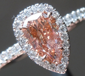 Pink Diamond Ring: .58ct Fancy Brownish Orangy Pink Pear Modified Brilliant GIA Uber Halo R5114
