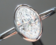 Colorless Diamond Ring: .90ct D VS2 Oval Shape GIA Bezel Set Ring R5048