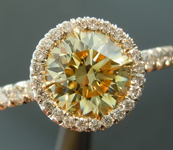 Yellow Diamond Ring: 1.03ct Fancy Yellow VS1 Round Brilliant GIA Halo Ring R5133