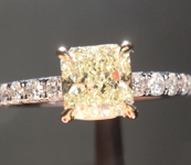 SOLD...Yellow Diamond Ring: 1.01ct U-V VS1 Radiant Cut GIA Claw Shape Prongs R5036