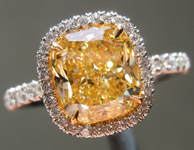 Yellow Diamond Ring: 2.20ct Fancy Yellow Internally Flawless Cushion Cut GIA Halo Ring R5146