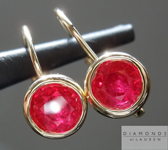 SOLD...Ruby Earrings: 1.23cts Round Brilliant Natural Ruby Drop Earrings R5088