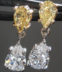 Diamond Earrings: 1.99cts Natural Yellow and Colorless Pear Shape Diamond Dangle Earrings R4956