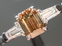 Loose Brown Diamond: .77ct Fancy Deep Yellow Brown SI2 Emerald Cut Beautiful Steps R5150