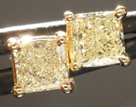 SOLD.....Yellow Diamond Earrings: .75ctw Y-Z VS2 Princess Cut Diamond Stud Earrings R5124