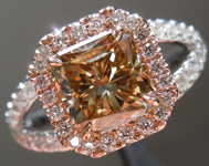 SOLD...Brown Diamond Ring: 1.66ct Fancy Yellow Brown I1 Radiant Cut Split Shank Halo R5148