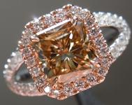 SOLD...Brown Diamond Ring: 1.66ct Fancy Yellow Brown I1 Radiant Cut Split Shank Halo R5148