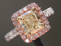 SOLD....Yellow Diamond Ring: 1.02ct U-V VVS2 Cushion Cut GIA Pink Lemonade Ring R5039