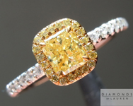 Yellow Diamond Ring: .53ct Fancy Intense Yellow VS1 Radiant Cut GIA &quot;Uber&quot; Halo Ring R5155