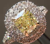 Yellow Diamond Ring: .93ct Fancy Yellow VS1 Cushion Modified Brilliant GIA Halo Ring R5157