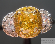 Yellow Diamond Ring: 1.02ct Fancy Vivid Yellow SI1 Cushion Cut GIA Three Stone Halo Ring  R5154
