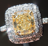 Yellow Diamond Double Halo Ring: 1.33ct W-X VVS2 Cushion Modified Brilliant GIA Desirable Stone R5038