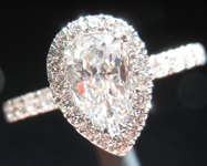 Colorless Diamond Ring: .46ct D VS2 Pear Shape GIA Hand Forged Halo Ring R4950