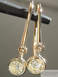 SOLD.... Yellow Diamond Earrings: .38cts U-V VS1 Round Brilliant Diamond Dangle Earrings R5120