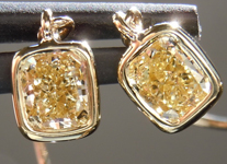 Yellow Diamond Earrings: .92cts Fancy Light Yellow VS1 Cushion Cut Dangle Earrings R5126
