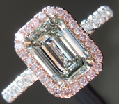 SOLD...Green Diamond Ring: 1.01ct Fancy Light Yellow Green VS2 Emerald Cut Diamond Halo Ring GIA R5183