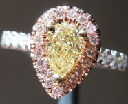 SOLD...Yellow Diamond Ring: .63ct Fancy Light Yellow VVS2 Pear Shape GIA Pink Lemonade R5135