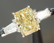 Yellow Diamond Ring: .77ct Fancy Yellow VVS1 Radiant Cut GIA Three Stone Ring R4526