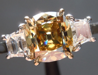 1.52ct Deep Brownish Yellow SI2 Old Mine Brilliant Diamond Ring R5166