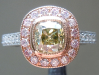 Diamond Ring: .86ct Fancy Brownish Greenish Yellow VVS2 Branded DBL Old Mine Brilliant GIA Pink Halo R5168