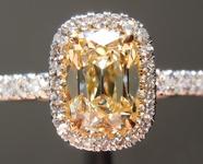 "SOLD.....Yellow Diamond Ring 1.07ct W-X VS2 ""DBL""Branded Old Mine Brilliant Diamond Halo Ring GIA R5171"