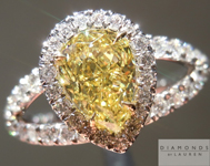 SOLD....Yellow Diamond Ring: 1.01ct Fancy Intense Yellow SI2 Pear Shape Split Shank Halo GIA Special Price R1086