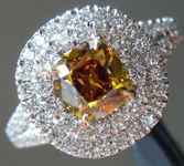 Old Mine Brilliant Ring: .76ct Fancy Deep Brownish Orangy Yellow VS1 Branded DBL Modern Antique Diamond GIA Double Halo R5173