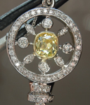 SOLD.... Yellow Diamond Pendant: .64ct Fancy Intense Yellow I1 Branded DBL Modern Antique Diamond GIA Key Pendant R5178