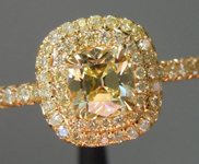 Yellow Diamond Ring: .43ct Fancy Yellow Internally Flawless Branded DBL Modern Antique Diamond GIA R5179